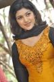 Oviya Helen Nelson Hot Photos in Orange Silk Salwar Kameez