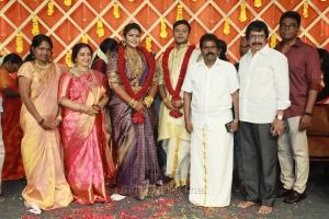 Thangar Bachan, Chitra Lakshmanan @ Parthiban daughter Abhinaya Wedding Reception Stills