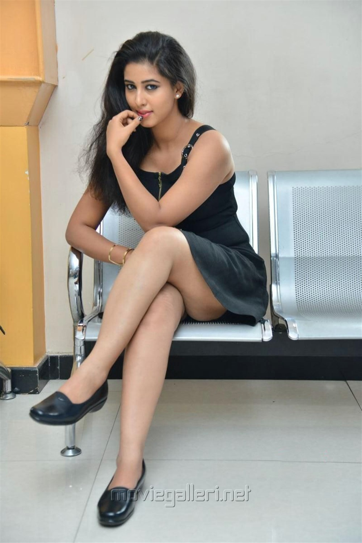 Actress Pavani Hot Black Dress Images @ Mr Homanand Audio Release