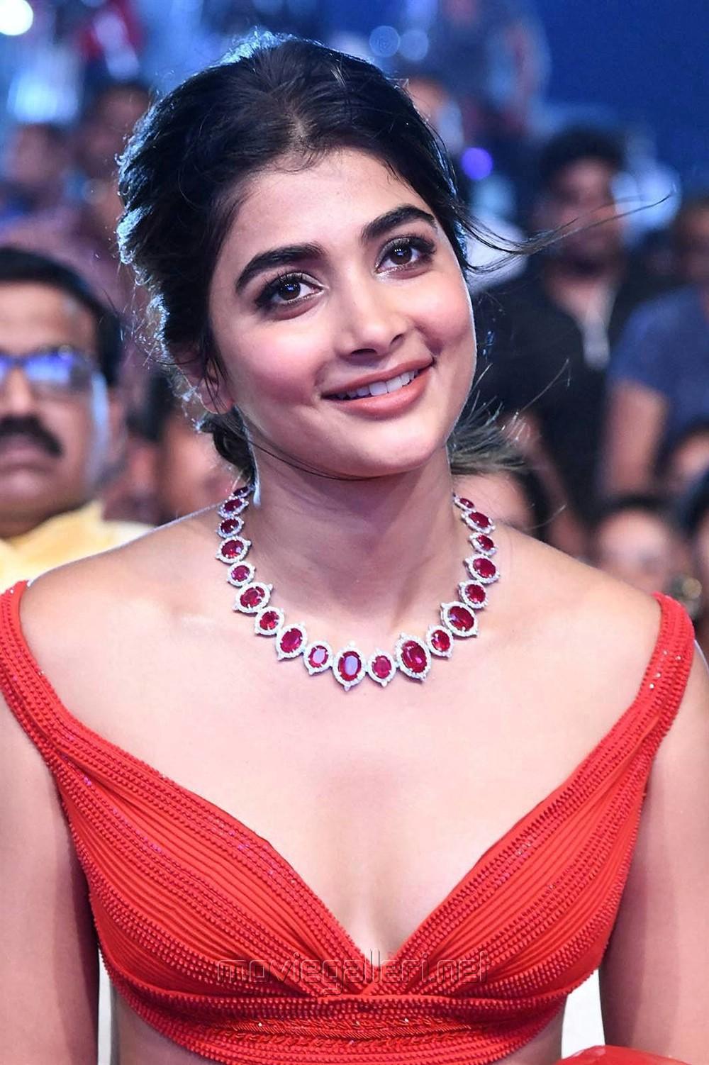 Actress Pooja Hegde Red Dress Pics