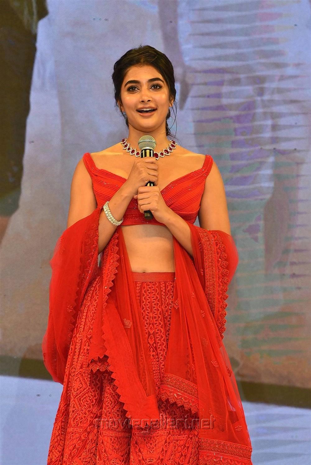 Maharshi Actress Pooja Hegde Pics in Red Dress