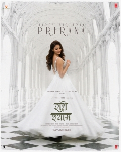 Radhe Shyam Hindi Movie Heroine Pooja Hegde Prerana Birthday Poster HD
