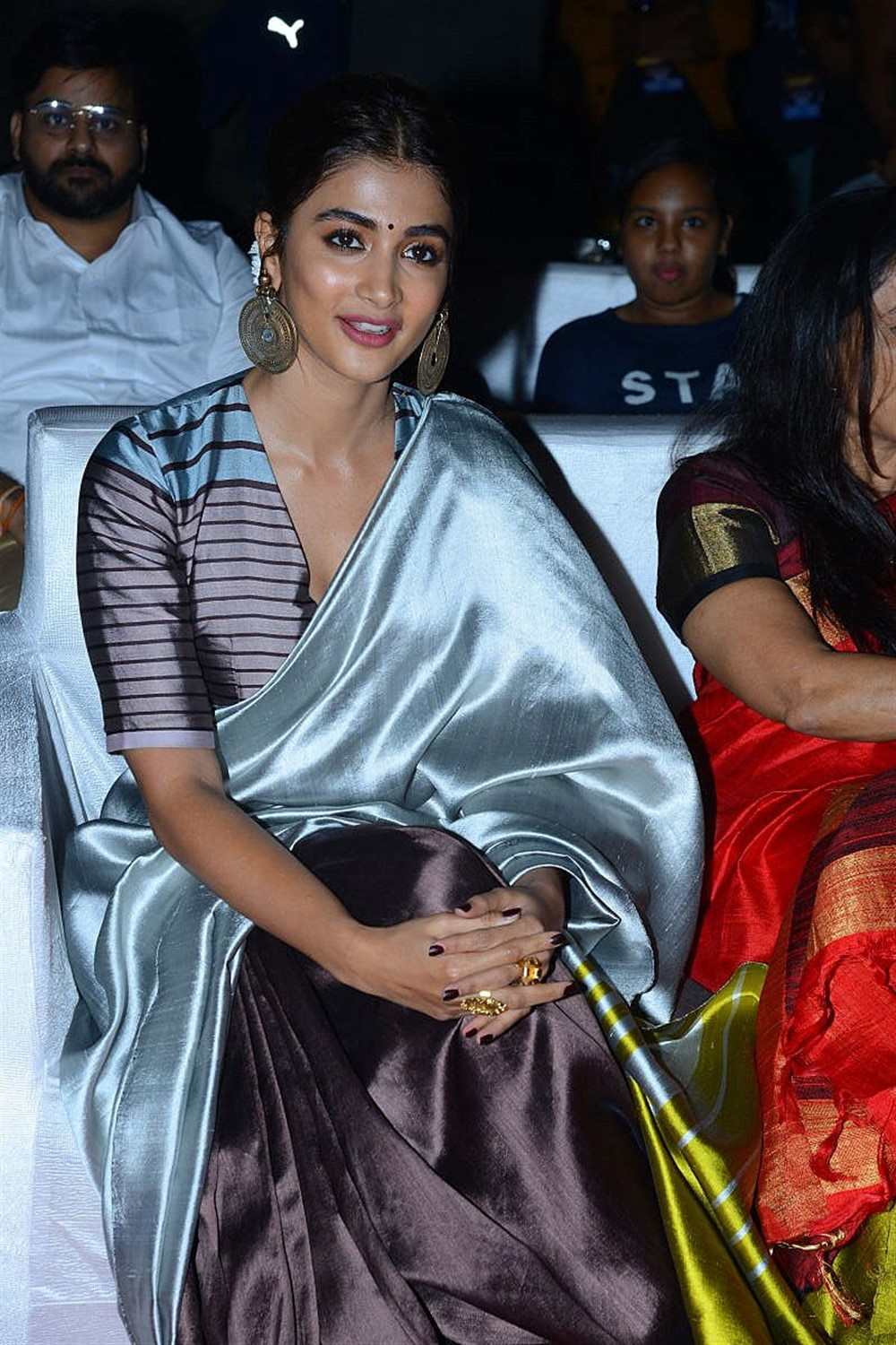Actress Pooja Hegde Saree Stills @ Ala Vaikunta Puram Lo Success Celebrations