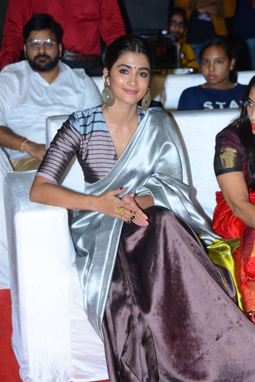 Actress Pooja Hegde Saree Stills @ Ala Vaikunta Puram Lo Success Celebrations