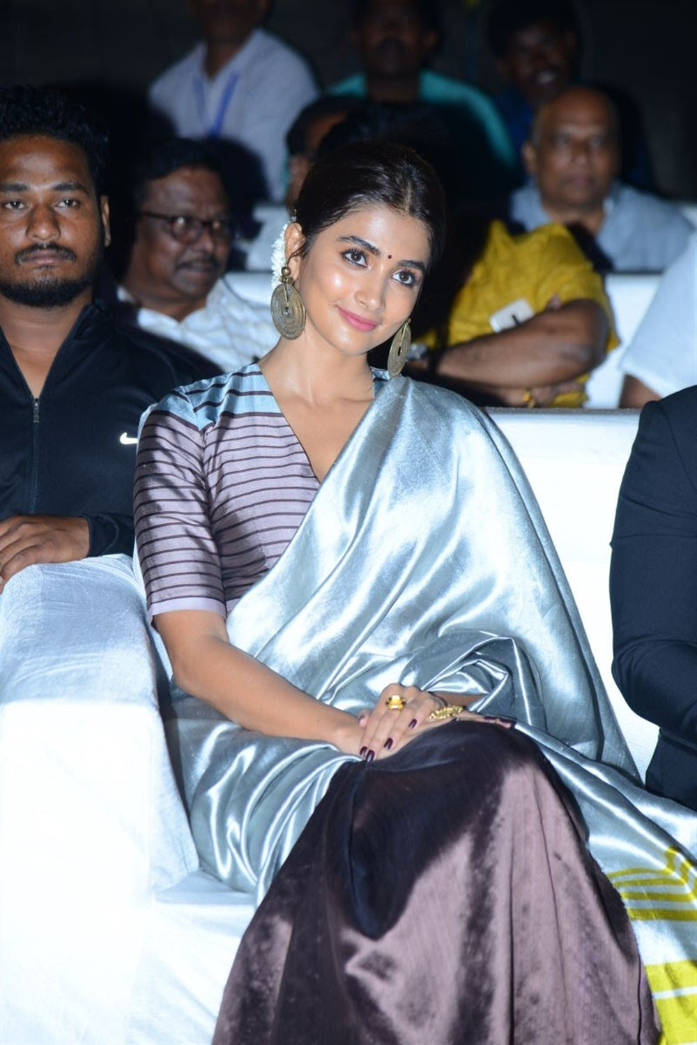 Actress Pooja Hegde Saree Stills @ Ala Vaikunthapurramuloo Success Celebrations