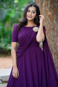 Bangaru Bullodu Heroine Pooja Jhaveri Violet Dress Images