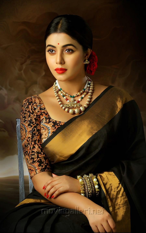 Actress Poorna Cute Saree Photoshoot Stills