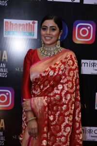 Actress Poorna Saree Pics @ SIIMA Awards 2021 Red Carpet