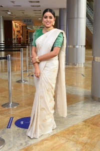Actress Poorna Saree Images @ Thalaivi Movie Pre Release Event
