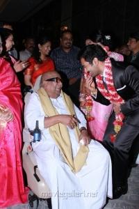 M.Karunanidhi at Sneha Prasanna New Reception Stills