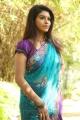 Actress Prathista Hot in Blue Transparent Saree Photos