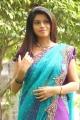 Actress Prathista Hot Photos in Sky Blue Transparent Saree