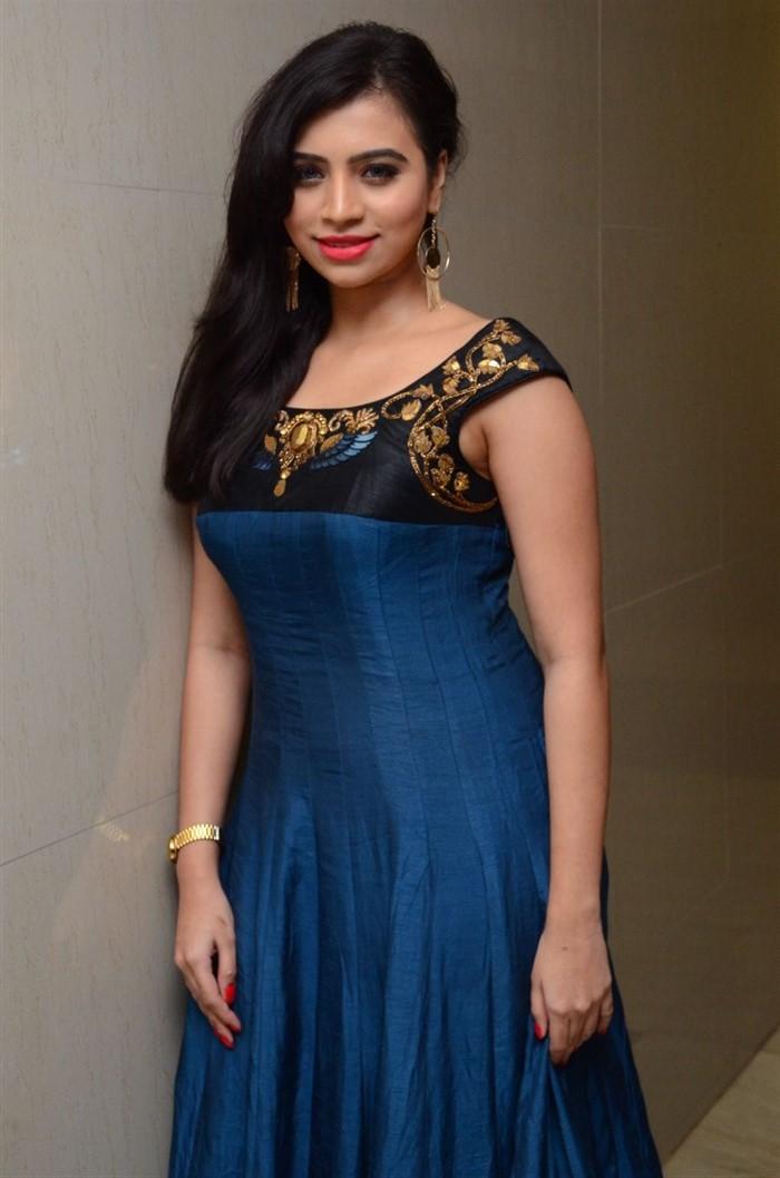 Actress Priyanka Ramana in Blue Long Gown Stills