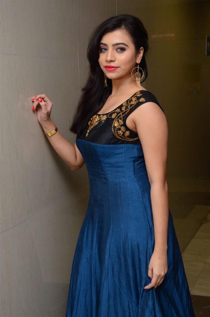 Tamil Actress Priyanka Ramana Stills in Blue Long Dress
