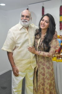 K Raghavendra Rao, Anushka @ PVP Cinemas Prod No 10 Movie Pooja Stills