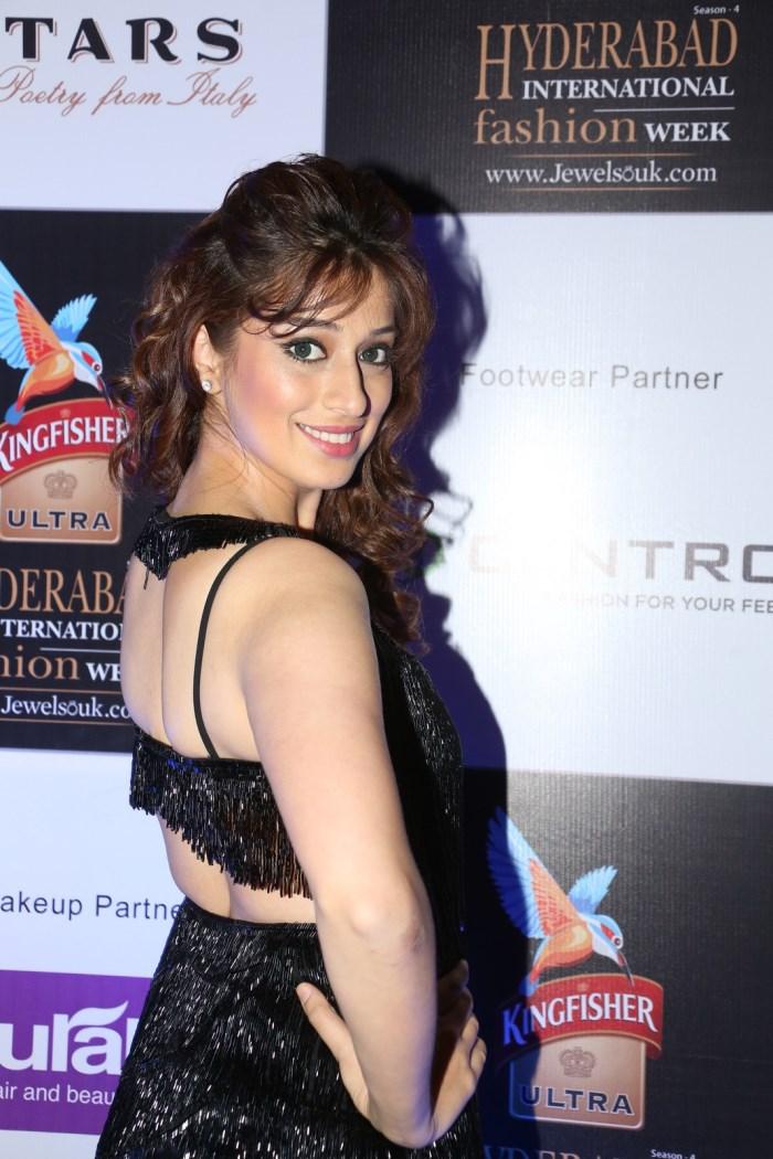 Telugu Actress Lakshmi Rai in Black Long Dress Hot Stills