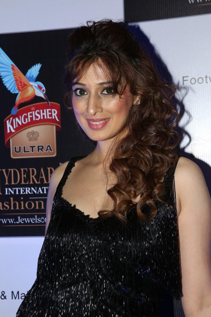 Actress Raai Lakshmi Hot Stills in Black Long Dress