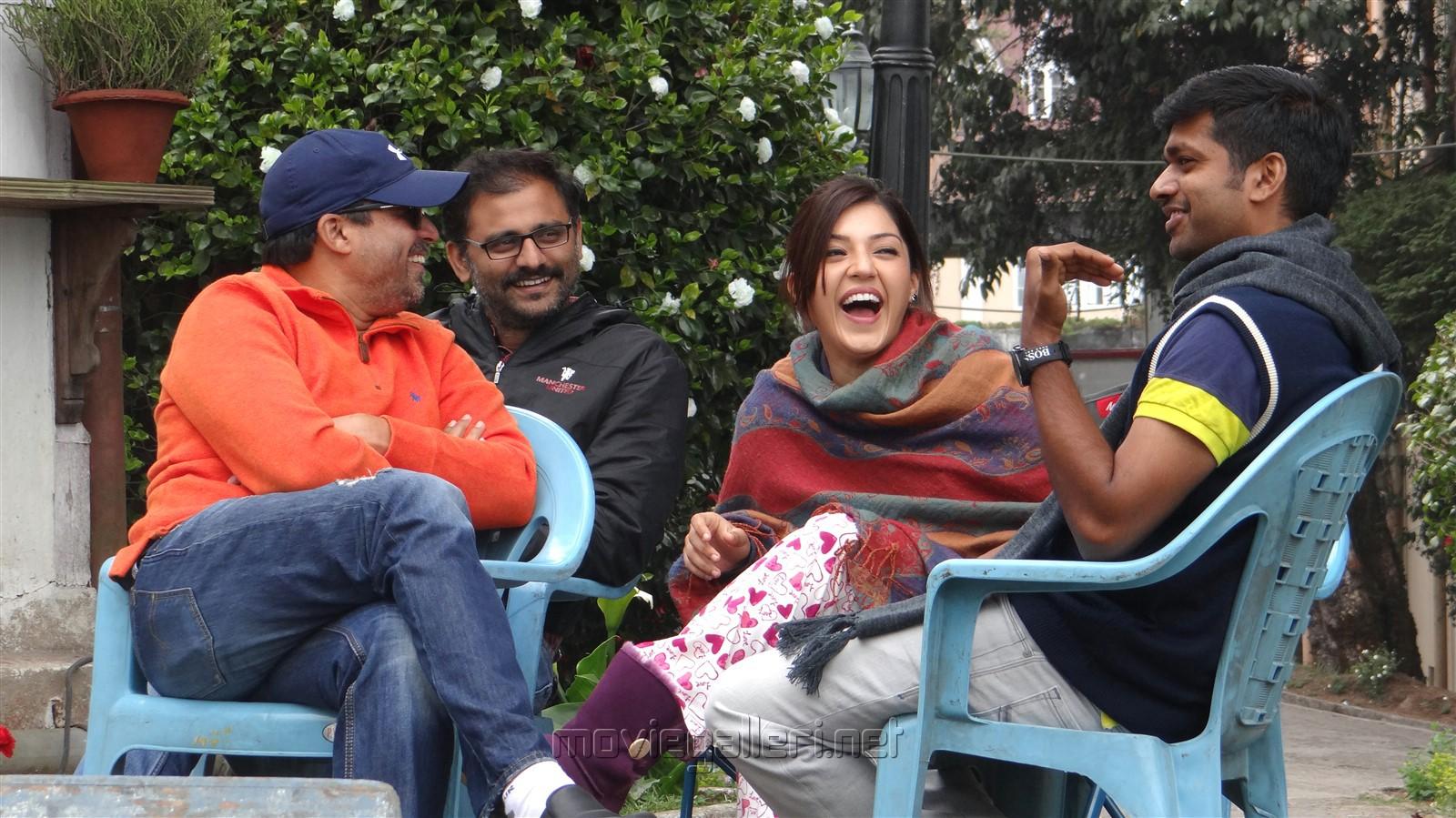 Actress Mehreen Pirzada, Director Anil Ravipudi @ Raja The Great Movie Working Stills