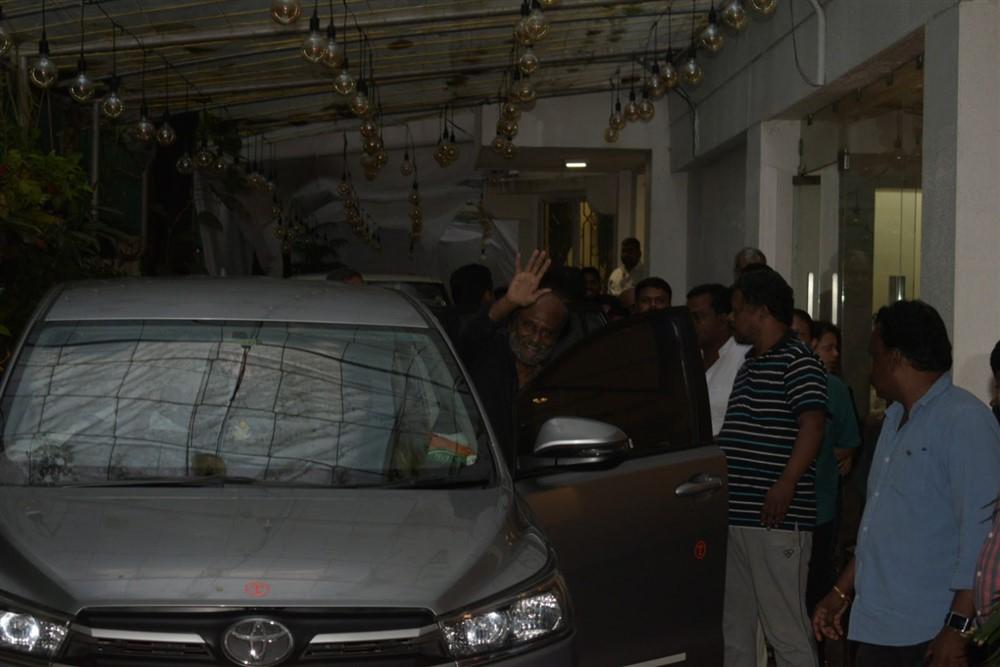 Superstar Rajinikanth spotted at Sunny Super Sound Studio in Juhu, Mumbai