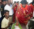 Chiranjeevi family takes part in Srivari Seva at Tirumala