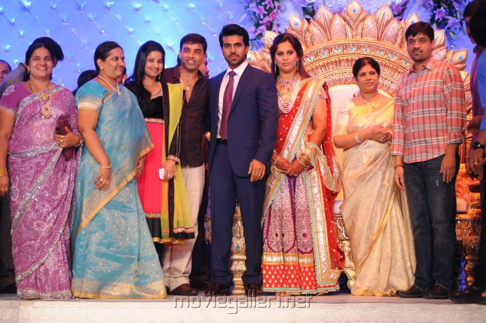 Dil Raju Family at Ram Charan Upasana Reception Stills