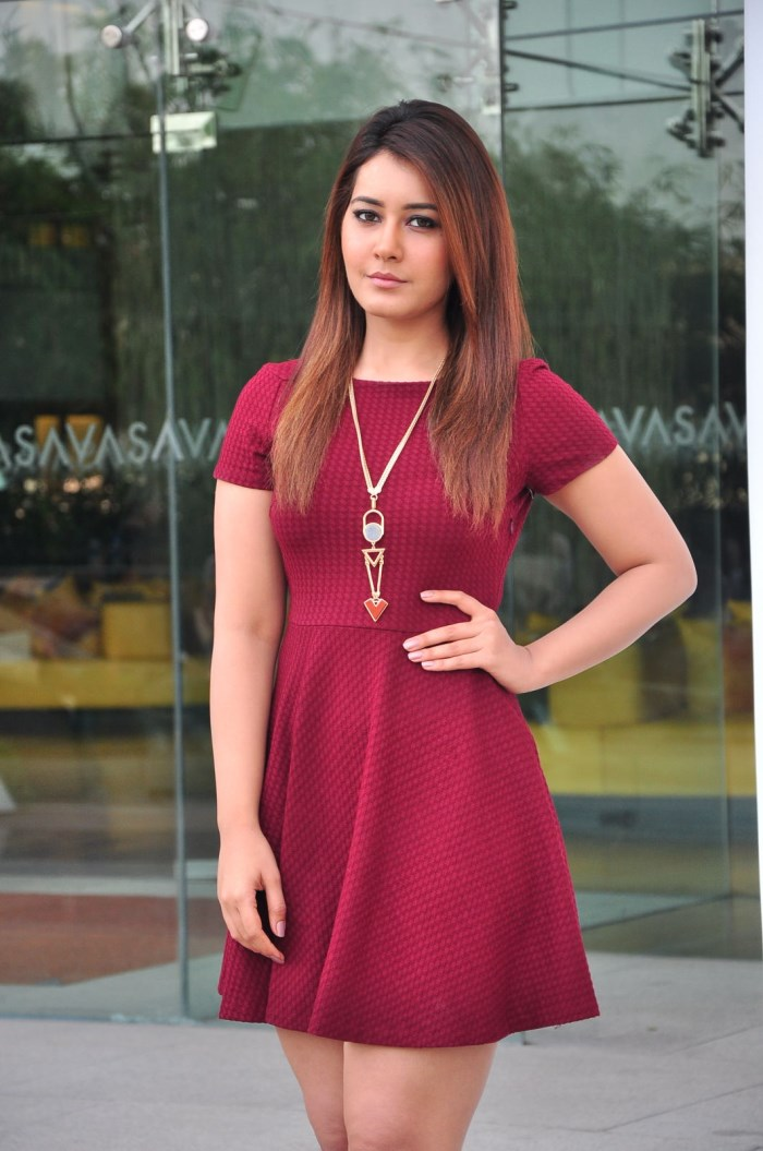 Rashi Khanna Hot Images in Red Mini Skirt   New Movie Posters