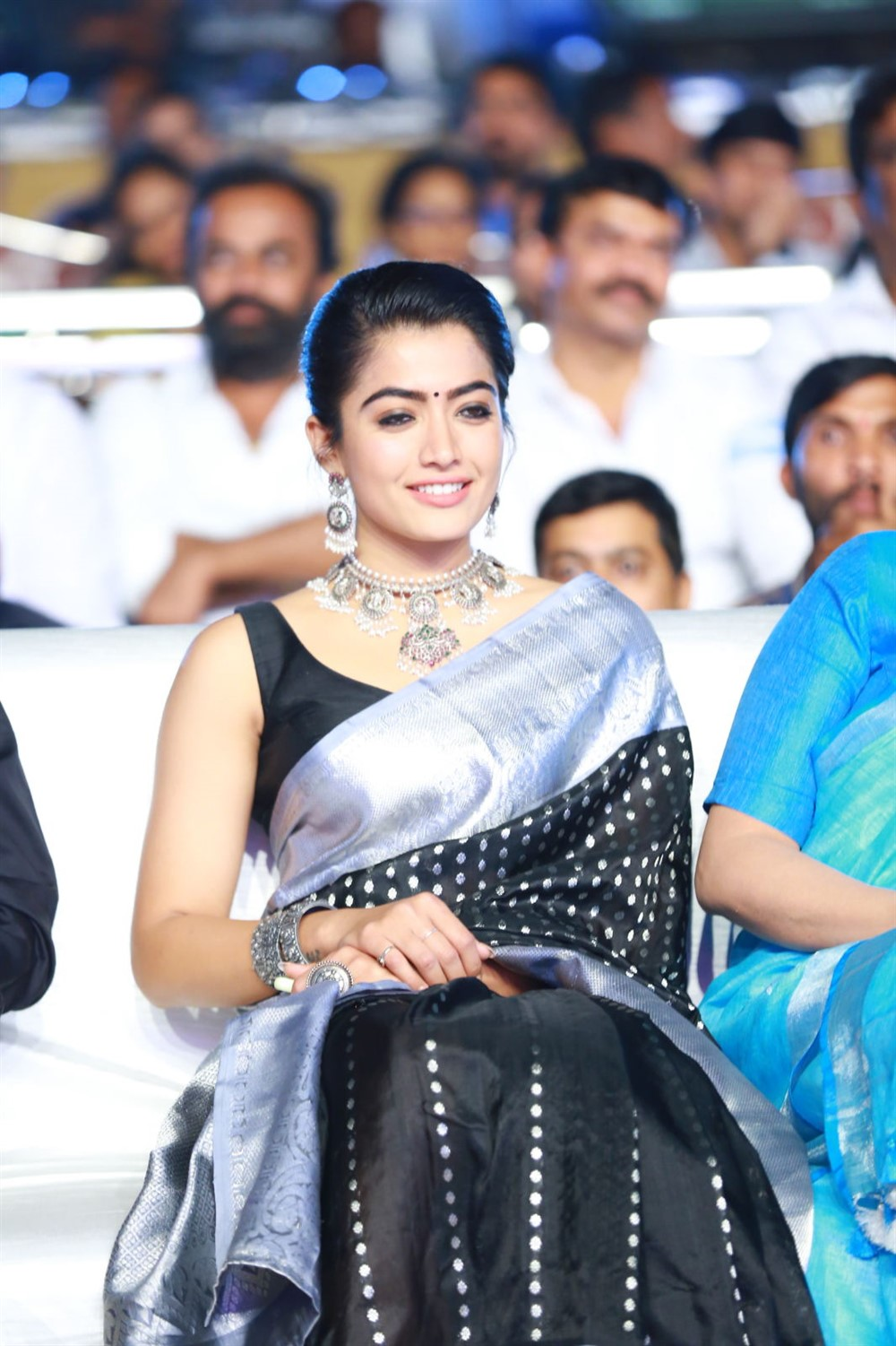 Actress Rashmika Mandanna Saree Pics @ Sarileru Neekevvaru Blockbuster Celebrations