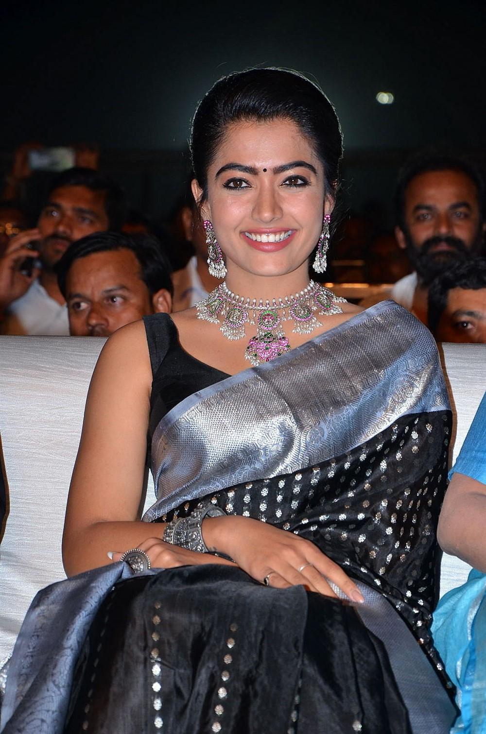 Actress Rashmika Saree Pics @ Sarileru Neekevvaru Blockbuster Celebrations