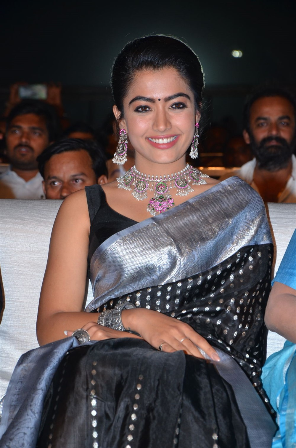 Actress Rashmika Mandanna Saree Pics @ Sarileru Neekevvaru Blockbuster Celebrations