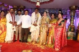 K Bhagyaraj, Poornima @ Radhika Sarathkumar's daughter Rayanne Hardy Marriage Photos