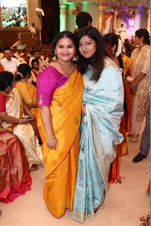 Vidyullekha Raman, Gayathri Raguram @ Radhika Sarathkumar's daughter Rayanne Hardy Marriage Photos