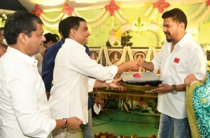 Shrish, Dil Raju @ RC15 Shankar Ram Charan Movie Pooja Stills