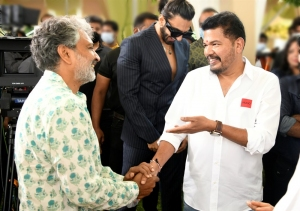 SS Rajamouli @ RC15 Shankar Ram Charan Movie Launch Stills