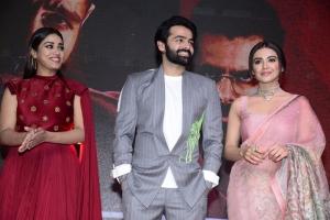 Nivetha Pethuraj, Ram Pothineni, Malavika Sharma @ Red Movie Pre Release Event Stills