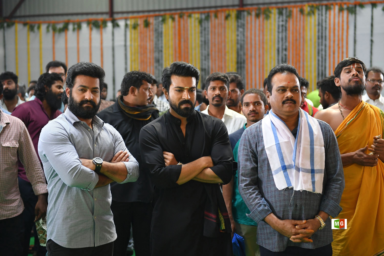 NTR, Ram Charan, DVV Danayya @ RRR Movie Opening Photos HD