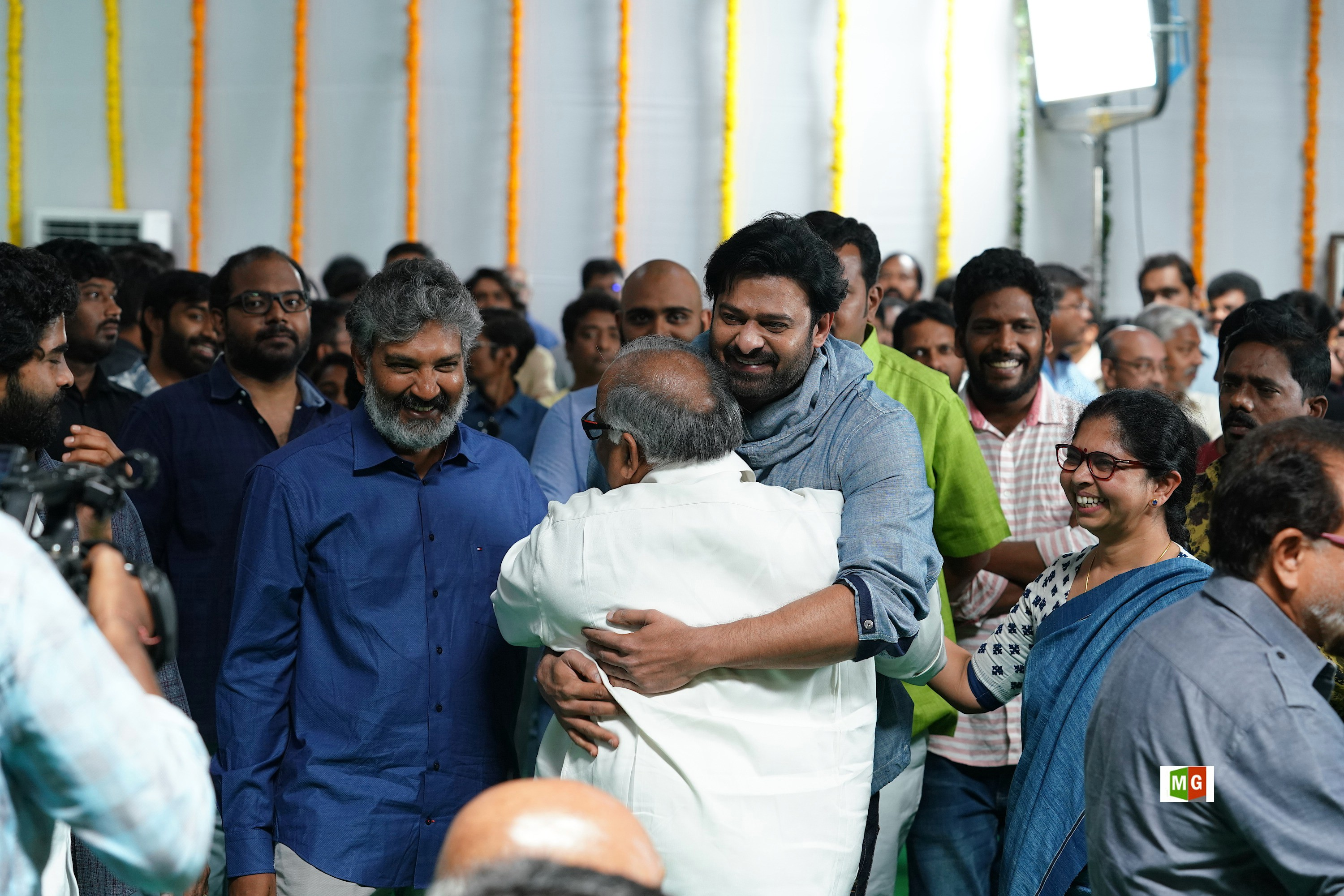 SS Rajamouli, Prabhas @ RRR Movie Opening Photos HD