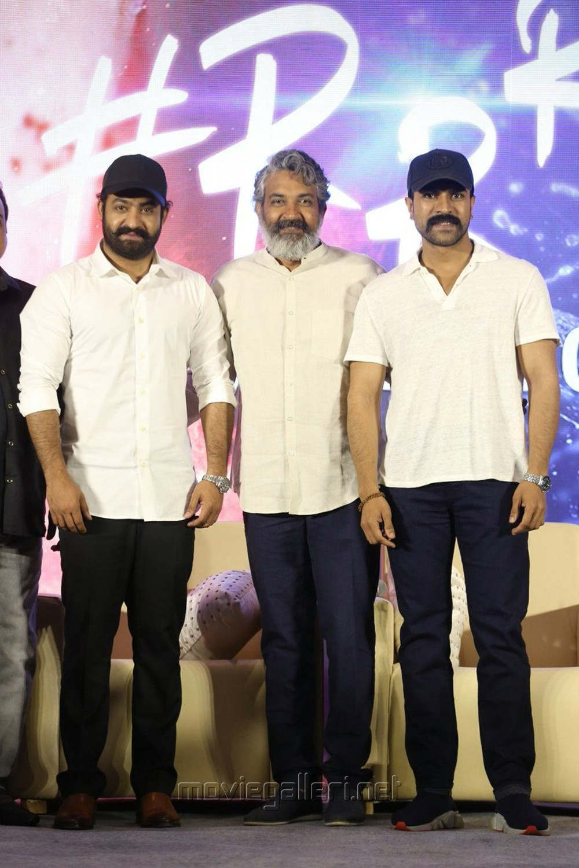 Jr NTR, SS Rajamouli, Ram Charan @ RRR Movie Press Meet Stills