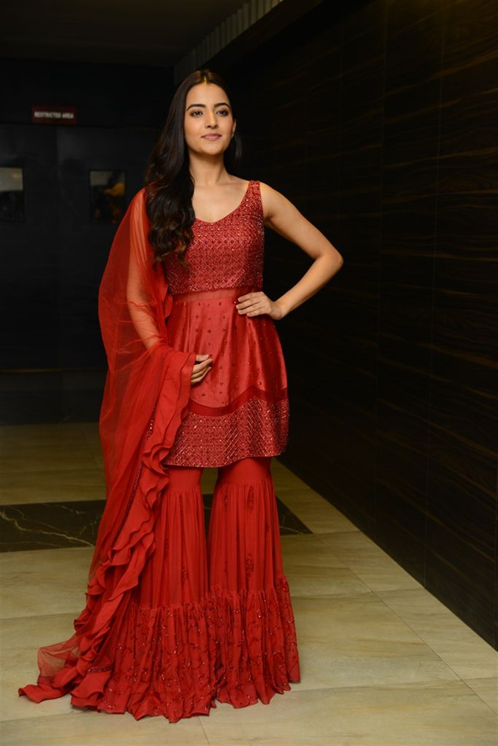Actress Rukshar Dhillon Pictures in Red Dress
