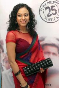 Rupa Manjari Hot Pics in Transparent Red Saree