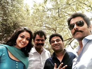 Keerthy Suresh, Hari, Devi Sri Prasad, Vikram @ Saamy Square Movie Pooja Stills