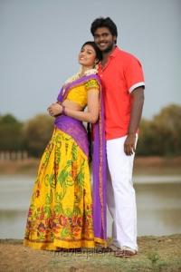 Neha, Shanmuga Pandian in Sagaptham Tamil Movie Stills
