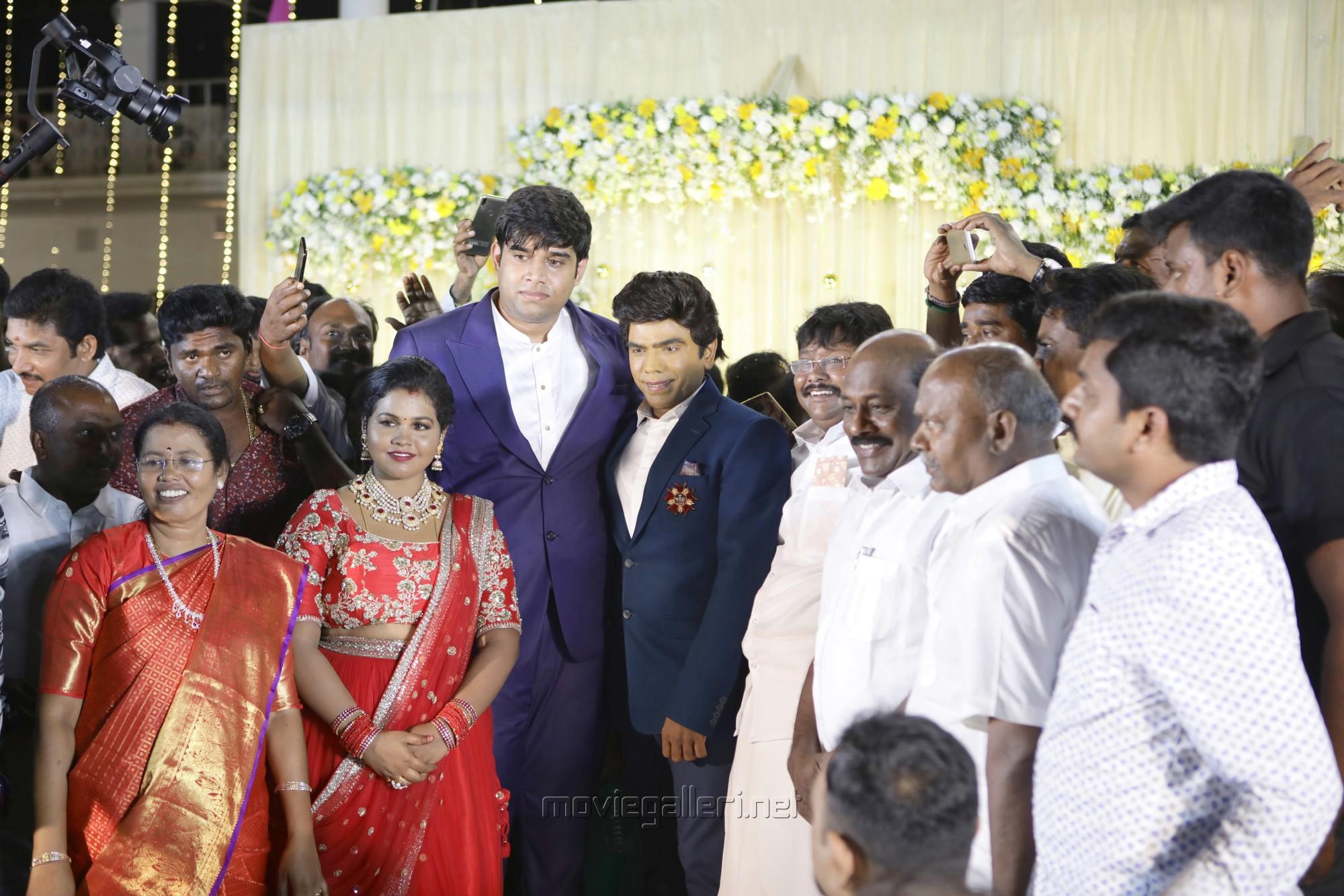Saravana Stores Legend Saravanan, M. Subramaniam @ Salem RR Briyani Tamilselvan daughter Wedding Reception Stills