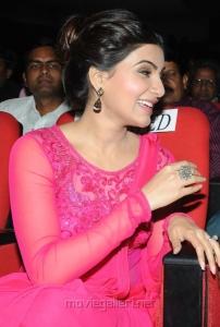 Gorgeous Samantha in Pink Saree at Autonagar Surya Audio Release