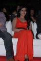 Actress Samantha in Red Orange Color Sleeveless Long Dress
