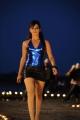 Samantha Hot in Blue Top & Black Mini Skirt