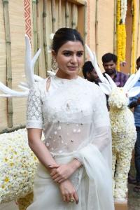Shakuntalam Movie Actress Samantha Akkineni White Saree Photos