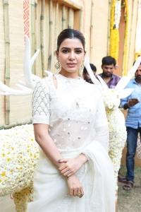 Actress Samantha White Saree Photos @ Shakuntalam Movie Opening