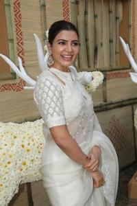 Actress Samantha Akkineni White Saree Photos @ Shakuntalam Movie Launch