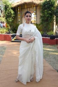 Actress Samantha White Saree Photos @ Shakuntalam Movie Launch