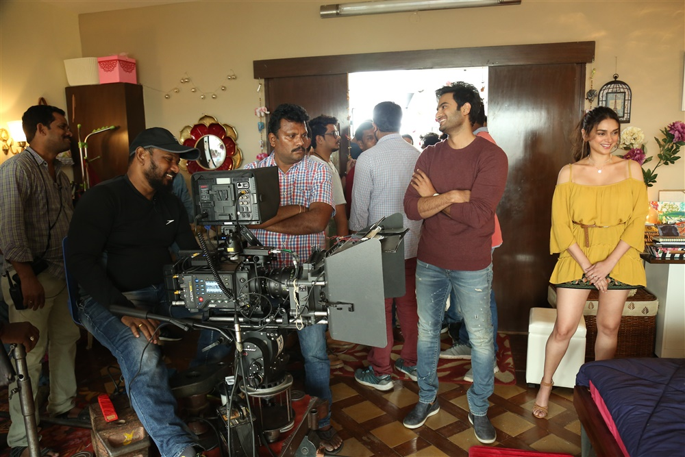 PG Vinda, Sudheer Babu, Aditi Rao @ Sammohanam Movie Working Stills